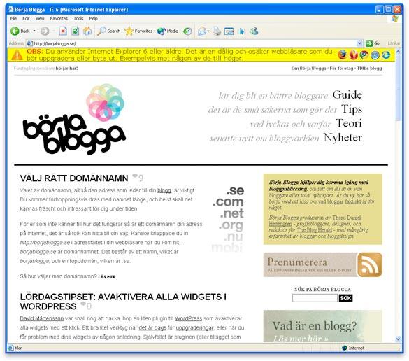 Börja Blogga med Internet Explorer 6