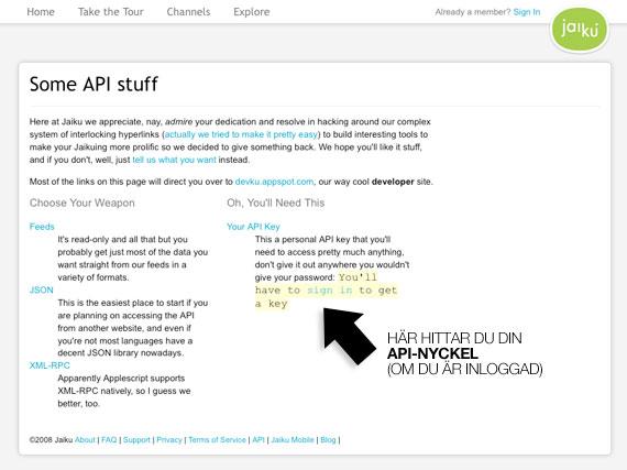 API-nyckeln på Jaiku