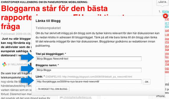 Dina blogguppgifter
