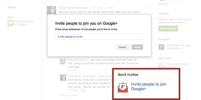 Bjud in till Google+