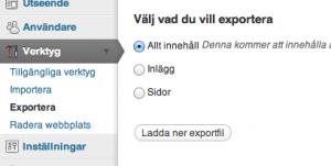 Välj vad du vill exportera