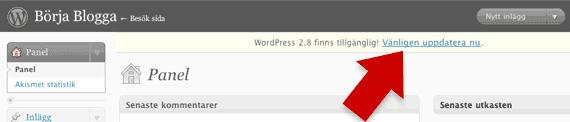 Uppgradera WordPress