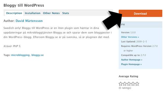Ladda hem från wordpress.org